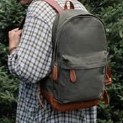Mahi Leather Leather   Canvas Backpack Rucksack in Khaki Green 5bd69752516e2