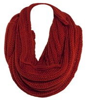 All About Eve - Chunky Rib Tube Scarf - Red