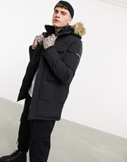 Good For Nothing double layer parka with faux fur hood in black 21834528