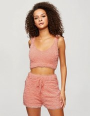 Miss Selfridge eyelash knit bralet in coral 22064702