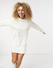 Nike mini swoosh long-sleeved T-shirt dress in off- white 21394396