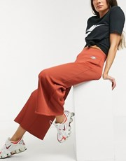 Nike ribbed high waist wide leg joggers in rust 14882910