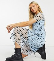 Wednesday's Girl midi smock dress in spot print 21129333