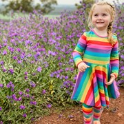 Frugi Organic Sofia Skater Dress - Foxglove Rainbow Stripe