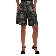 Dolce & Gabbana Gray Floral Brocade High Waist Shorts 4664911167532