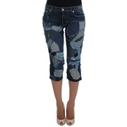 Dolce & Gabbana Stretch Blue Patchwork Jeans Shorts 4670111055916