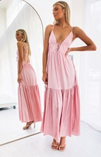 Bb Exclusive Eivissa Tiered Midi Dress Pink