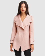 Belle & Bloom Bad Girl Wool Blend Moto Coat - Blush