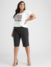 Beme Knee Length Spot Bengaline Short black/white