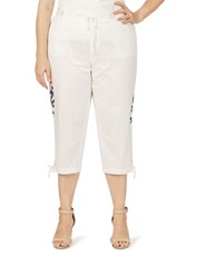 Beme Pull On 3/4 Length Embroidered Poplin Pant white