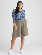 Beme Pull On Lace Trim Short khaki