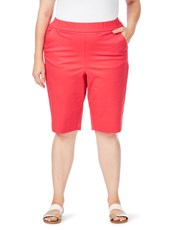 Beme Pull On Twill Short cherry red