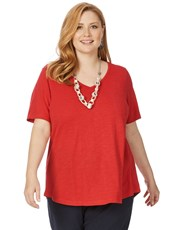 Beme Short Sleeve V Neck Basic Tee red