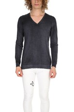 Avant Toi Cashmere Destroyed V Neck Navy