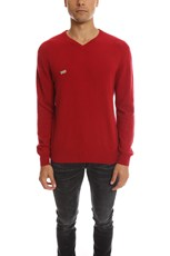Fold Your Paper Cashmere V Neck Sweater Red