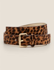 Boden Classic Buckle Belt - Tan Leopard