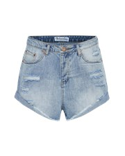 Bohemian Traders Distressed Denim Short in Light Blue