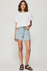 Bohemian Traders Long Line Distressed Denim Shorts