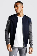 Boohoo Colour Block Smart Knitted Bomber