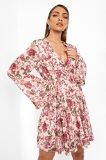 Boohoo Floral Print Flared Sleeve Skater Dress