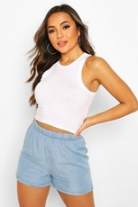 Boohoo Petite Chambray Flippy Shorts