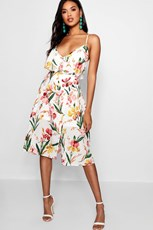 Boohoo Tasha Floral Ruffle Open Back Midi Skater Dress