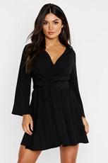 Boohoo Tie Detail Flared Sleeve Skater Dress