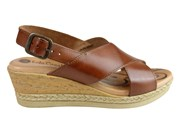Lola Canales Kami Womens Comfort Leather Wedge Sandals Made In Spain