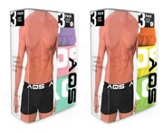 AQS - Men's Boxers Pack of 6 - Lt Purple, Lt Pink, Lt Green + Lime, Yellow, Orange
