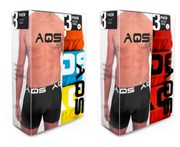 AQS - Men's Boxers Pack of 6 - Orange, Blue, Yellow + Red, Red, Red