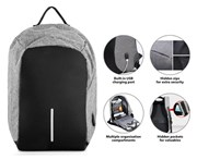 Milano Anti Theft Backpack with USB Charging Port - Grey
