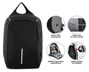 Milano Anti-Theft Backpack with USB Charging Port - Black