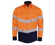 BigBEE HI VIS Shirt Cotton Drill V Shaped Light Weight Air Vents REFLECTIVE TAPE - ORANGE/NAVY-R