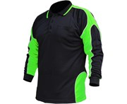 BigBEE Hi Vis Polo Shirt Work Wear ARM PANEL FLUORO COOL DRY - BLACK/LIME