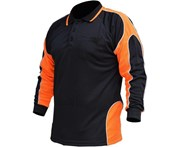 BigBEE Hi Vis Polo Shirt Work Wear ARM PANEL FLUORO COOL DRY - BLACK/ORANGE