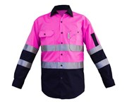 BigBEE Hi Vis Shirt Premium Light Weight Cotton Air Vents UPF 50+ LONG SLEEVE Reflective Tape - PINK/NAVY