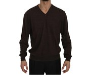Dolce & Gabbana Brown Cashmere V-Neck Pullover Top Sweater