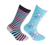 Floso Childrens/Kids Cotton Rich Welly Socks (2 Pairs) (Blue/Pink) - K355