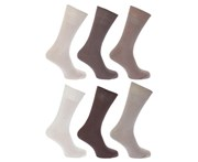 Floso Mens Plain 100% Cotton Socks (Pack Of 6) (Shades of Brown) - MB183