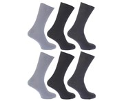 Floso Mens Ribbed Non Elastic Top 100% Cotton Socks (Pack Of 6) (Shades of Grey) - MB186