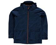Gelert Kids Coast Waterproof Jacket Coat Top Junior - Navy/Orange Breathable - Blue
