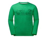 Jack Wolfskin Boy's Long Sleeve Brand Tee - Evergreen