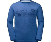 Jack Wolfskin Boys Long Sleeve Organic Cotton Outdoor Brand T-Shirt - Coastal Blue