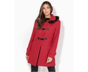 KRISP Womens Fur Hood Woollen Parka Duffle Trench Coat Toggle Winter Jacket - Red - Red