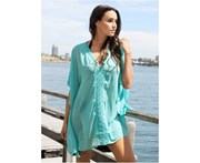 LaSculpte Women's Chiffon Kaftan with Lace Swimwear Swimsuit Bikini Cover up Beach Dress - Mint