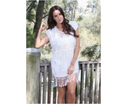 LaSculpte Women's Crochet Lace Tunic With Tassel Detail Kaftan Swimwear Swimsuit Bikini Cover up Beach Dress - White