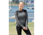 LaSculpte Women's Fitness Athletic Workout Essential Spliced Pullover Sports Hoodie - Grey Marl/Black