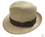 Boutique Retailer Natural Palm Straw Panama Fedora Hat - Navy/Burgundy Band