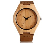 Yisuya Nature Wood Women Watches Quartz Bamboo Ladies Wristwatch -Brown