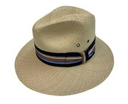 Boutique Retailer Scala Canvas Panama Fedora Hat Cotton Cap - Sand